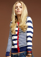 2014women's pocket female navy style preppy style stripe cardigan sweater free shipping