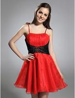 Lost in City Nights! Party Dress Prom Dress A-line Spaghetti Straps Short/ Mini Satin Organza Cocktail Dress