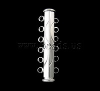 Free shipping!!!Brass Slide Lock Clasp,Wholesale Jewelry, silver color plated, 6-strand, nickel, lead & cadmium free