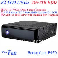 free shipping cheap mini itx HTPC AMD E2-1800 APU CPU include SECC 2G RAM 1TB HDD ATI Radeon HD 7340 graphic Windows or Linux