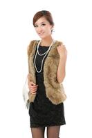 Hot Sell!Real fur !! Belt long vest brown fur vest fur vest