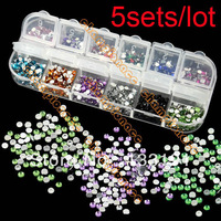 5sets/lot 2000pcs/set Mix 12 Color 3mm Teardrop Rhinestones Nail Glitters Art tips Gems Decoration 10897