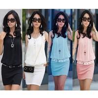 Free Shipping Korean Style Fashion Women 2014 Ladies Mini Tank Dress Casual Salomon Cotton Crochet Women Summer Dolid Dresses