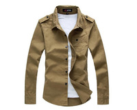 2013 Men's Long Sleeve Shirt Slim Style 3  Solid Colors Turn-down Collar Free Shipping MCL138