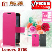 New Arrival ! Doormoon Genuine leather case for Lenovo S750 free shipping with retail package
