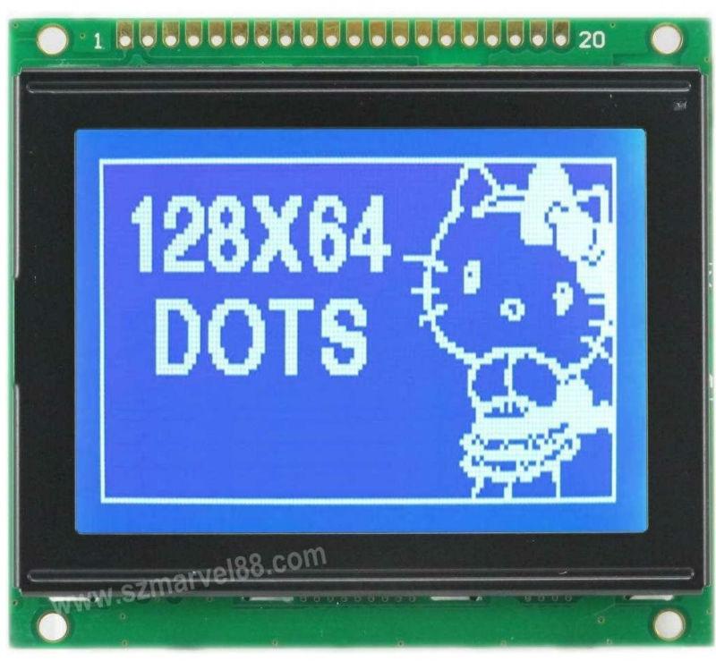 M12864C1-B5, 12864 Graphics LCD Module, 128 x 64 dot-matrix Display, STN(Blue), transmissive/negative, T7108 IC, COB(China (Mainland))