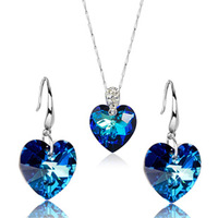 925 Pure Silver Heart Of The Ocean Wedding Jewelry Sets