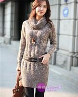 Free Shipping  New 2014 Fall Winter Long Warm  poncho Brand Designer Cotton kittned women sweater dress  women sweater