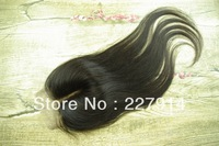 "Free shipping Cheap Virgin Brazillian Straight Hair Lace Top Closure 3.5x4"" Bleached Knots Hair Pieces 10-20"" Middle Part"