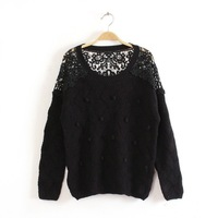 New 2014 4 color for women cutout lace patchwork o neck multi-ball decoration loose sweater pullover outwear
