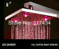 Thermostat LED Rain shower head square brass jet shower sprayer