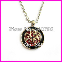 Game of Thrones Inspired House Targaryen Dragon necklace Pendant necklace red enamel round pendant with chain 1 pc free shipping