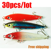 Free shipping.30pcs (4g 65mm)Fishing Hard Crankbait Minnow Fishing Lures/Hooks NEW baits 3DX