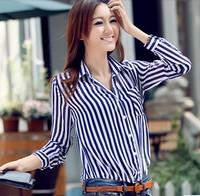 Free Shipping 2013 Office Ladies' Stripe Print Long Sleeve Chiffon Shirts Fashion Women's Turn-down Collar Blouses  MLS zj610
