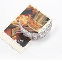 Korean Sweety Girls Hair Accessories Full Shining Crystal Moon Hair Clips Barrettes AF143