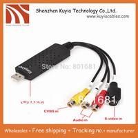 Free shipping+New USB 2.0 Easycap dc60 tv dvd vhs video adapter capture card Audio AV Capture