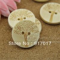 Free Shipping 100pcs mixed sweater pure wood self-shade beautiful laser tree wood button Tree093