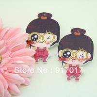 Free Shipping 50pcs mixed Colored drawing print cartoon chest buckle brooch girl Large cartoon pin diy accessories ayagirl072