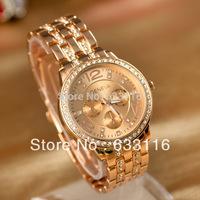 drop shipping 1pcs/lot hot sale high quality ladies girls women sports watch Set auger stainless steel geneva brand wristwatch