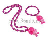 Free shipping 40% off Jewelry Sets,Child Jewelry Fashion, Acrylic,bracelet & necklace, Animal, with rhinestone, pink, 23x38x8mm