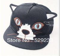 Free shipping 2014 new fashion cute cat ear animal hat hip hop baseball cap flat along hats for men women snapback hats caps