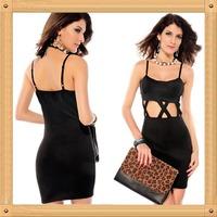 Free Shipping Black Sexy Women Spaghetti Strap Cotton Hollow Out Short Prom Dress Cheap Party Dress