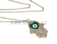Free shipping!!!Zinc Alloy Jewelry Necklace,Gift, Hand, gold color plated, with rhinestone, nickel, lead & cadmium free