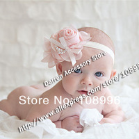Trial order 12color 6pcs/lot Baby infant Headband for Photography props rose pearl flower Headbands kids hair accessory