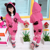 Free shipping! Autumn winter children suit with thick clothing wholesale leisure two-piece kids girl hoodie + pants 5 sets/lot