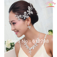 Butterfly Shap Rhinestone Bridal Jewelry Sets Necklace Earrings Hair Accessory Piece Set Wedding Dress