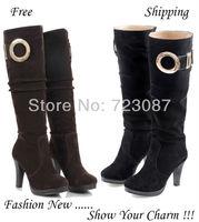 2013 Winter Autumn Fashion Sexy Brown High Heels Platform Shoes Black Bottom PU Metal Ankle Booties Women Pumps Boots