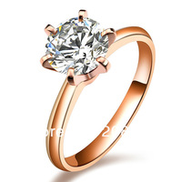 Classic 6 Claws 14K Rose Gold 1 Carat Brilliant Cut Moissanite Gold Wedding Rings For Fashion Women Free Shipping