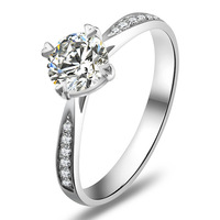 Genuine 14K White Gold 1 Carat Brilliant Cut Moissanite Gold Rings For Women Fashion Gold Ring Free Shipping