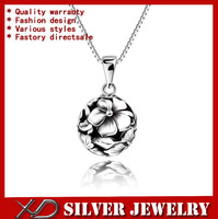 XD km427 925 sterling silver beautiful water lily vintage jewelry pendant necklace for women