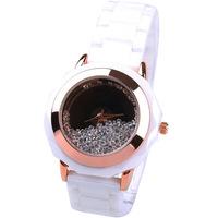 Fashion quality white ceramic women's quartz watch the first grade rhinestone fashion watch 163801