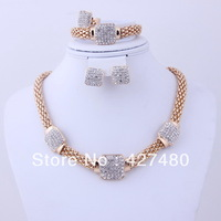 2014 Hot selling fashion 4pcs bridal necklace set top quality gold plated women wholesale vintage party jewelry sets