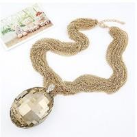 2013  gold hematite thin chain punk style big imitational stone necklace for women