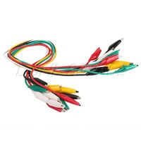 10X Multi-color Double-ended Crocodile Clips Cable Alligator Clips testing leads