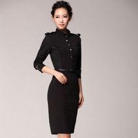2014Novetly Fashion Beckham Style Cocktail Pencil Dress Mandarin Collar Belt Slim Hip Formal Trench Bodycon Push Size lyq08