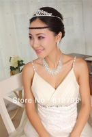 Irregular Necklace Bridal Tiara Headband Crown Tassel Earring Rhinestone Weeding Jewelry Sets