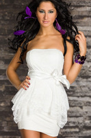 M XXL Plus Size 2013 New Fashion Women Strapless White Lace Bridesmaid Dress Sexy Clubwear Party Mini Dress with Belts N111