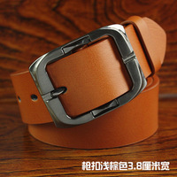 Top-quality men's women's   brand genuine leather belt with single pin buckle original factory supply free shipping wholesale