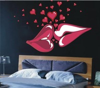 Free Shipping 1 set Retail 140x100cm Big Kiss Lips Decals Lips Vinyl Wall Decal Sticker DIY Home Decor Bedroom Decor