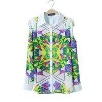 Long Sleeve Off Shoulder Geometric Pattern Chiffon Flower Printed Blouse Women Shirt  Blusas New Fashion 2014 European Style