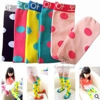 Free Shipping Korea Style Lovely Polka Dot Design Baby Hose Girls' Stockinet Kids High Knee Socks 5pairs/Lot