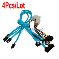 4Pcs/Lot 7 Pin SATA Serial ATA To SAS 29 Pin 4 Pin Power Cable Male Connector Adapter TK0938