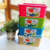 Hot~!four color can choose~!Desktop finishing, toys, plastic weaving section of storage basket