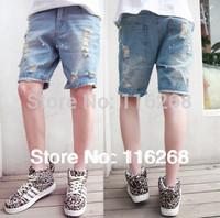 Mens jeans denim shorts  denim shorts cowboy jeans man cotton brand man spring 2014 jeans pant short