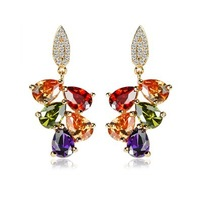 18K Gold Plated My Mona Lisa Multicolor CZ stones Cluster Drop Earring (Yashow ZE0809) FREE SHIPPING