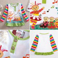 2014 New Arrival 12m-5y Nova Kids Wear for Girls 100% Cotton Baby Girls Tunic Tops Childrens Cartoon Clothing tz09
